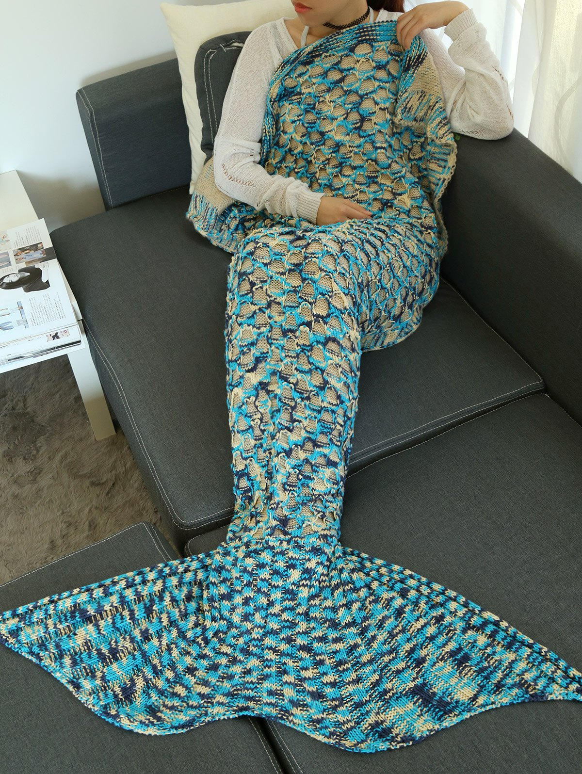 Camouflage Crochet Knit Mermaid Blanket Throw