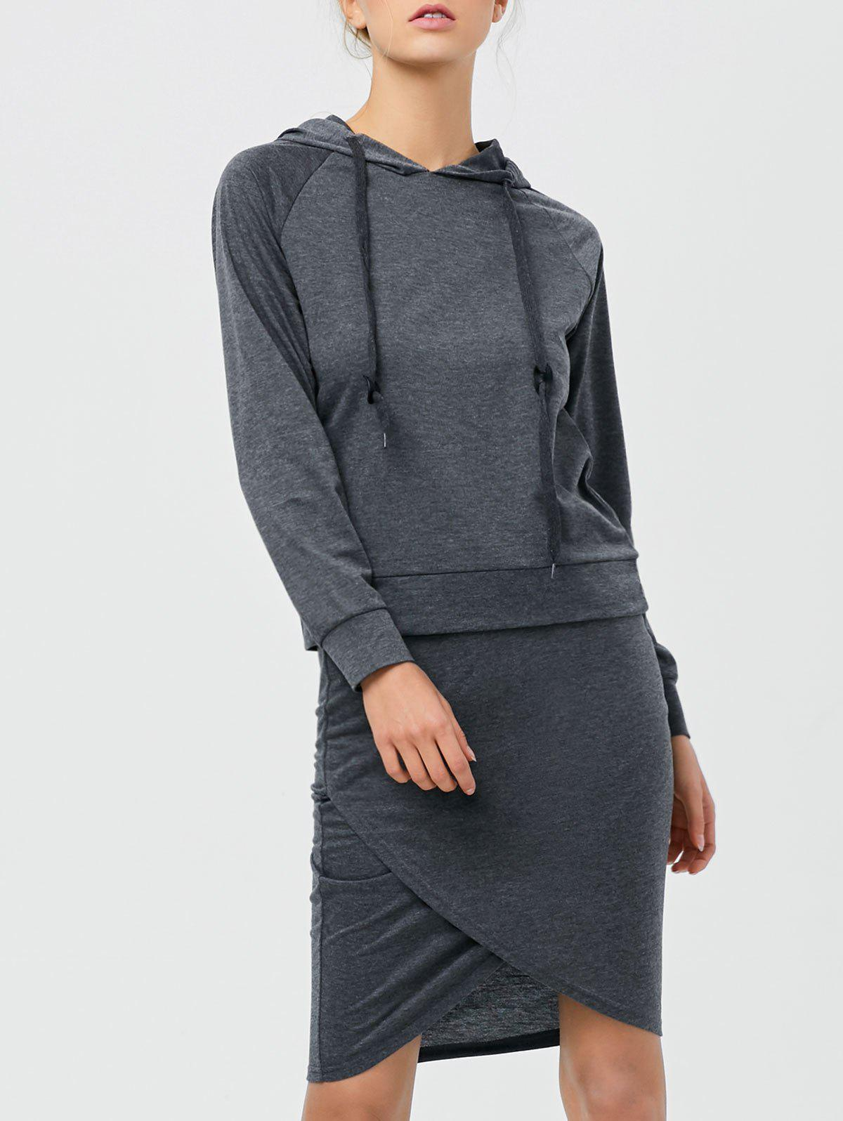 Drawstring Hoodie with Pencil Skirt - DEEP GRAY S