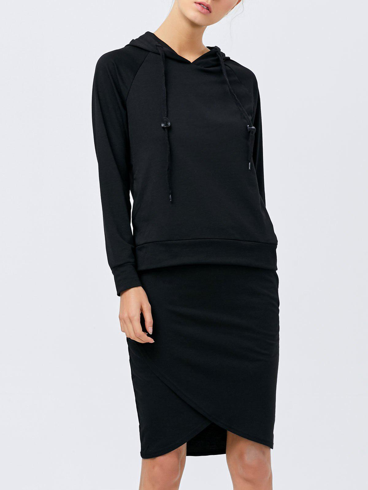 Drawstring Hoodie with Pencil Skirt - BLACK S