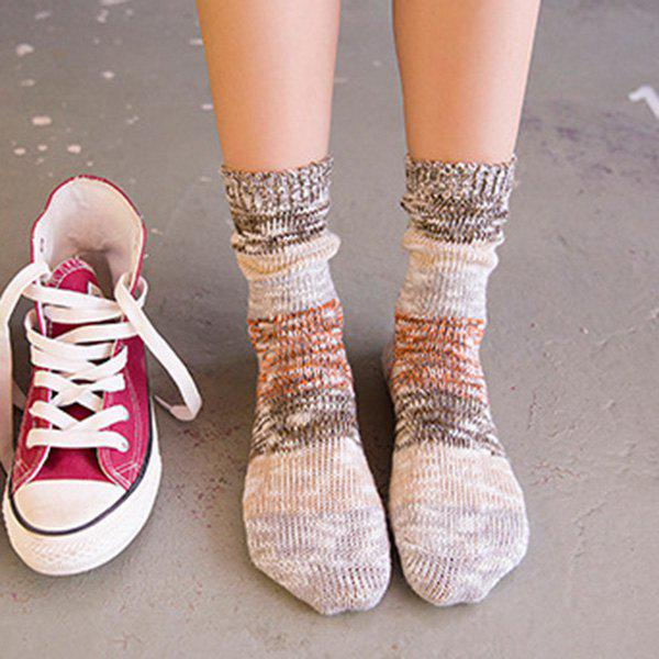 Color Block Knitted Socks - BROWN