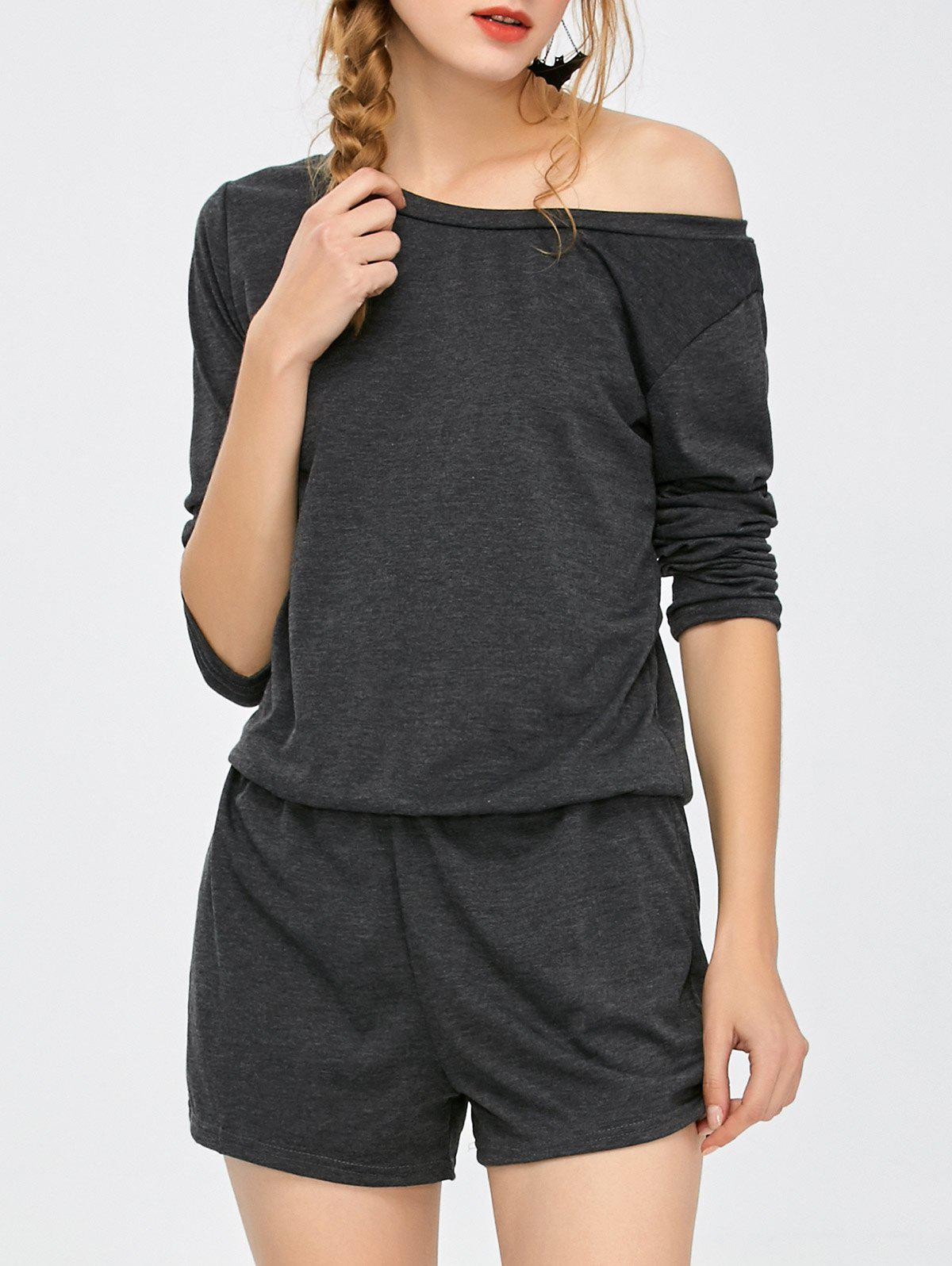 Elastic Waist Long Sleeve Romper - DEEP GRAY M