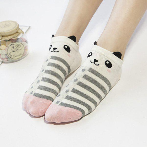 2 Pairs of Cartoon Panda Ankle Socks - COLORMIX