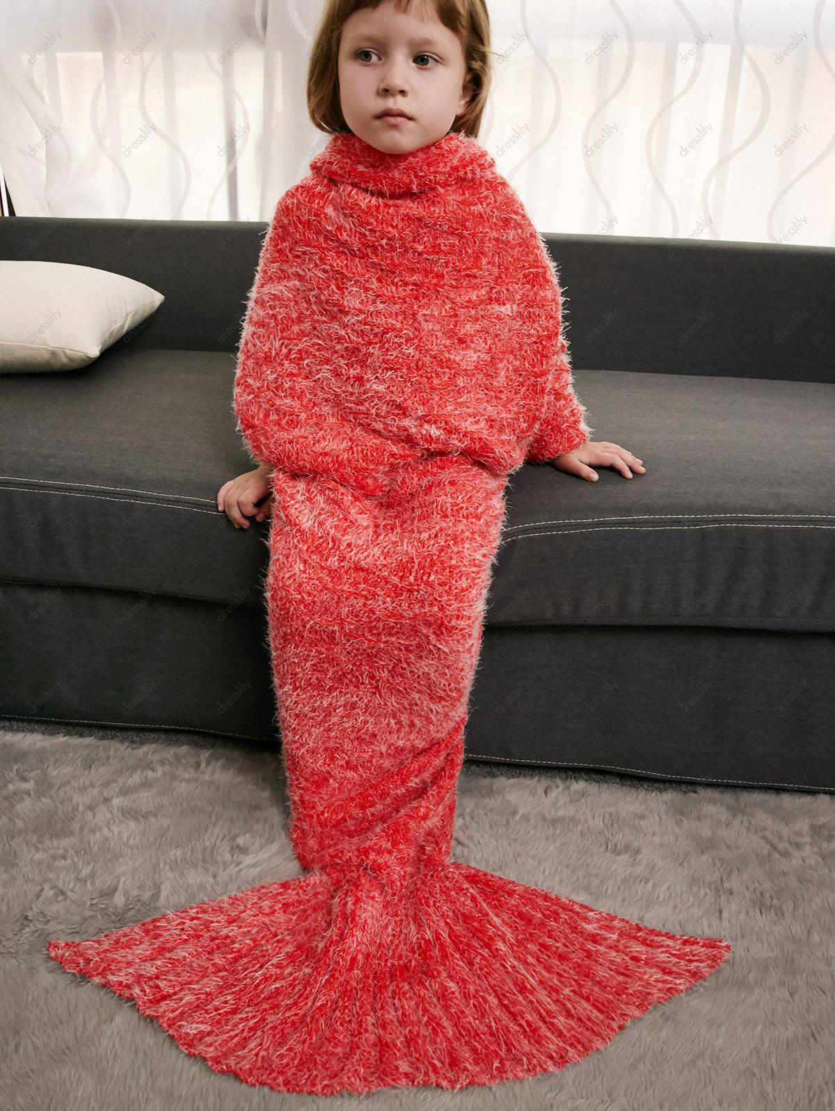 Crochet Knitted Faux Mohair Mermaid Blanket Throw For Kids - JACINTH
