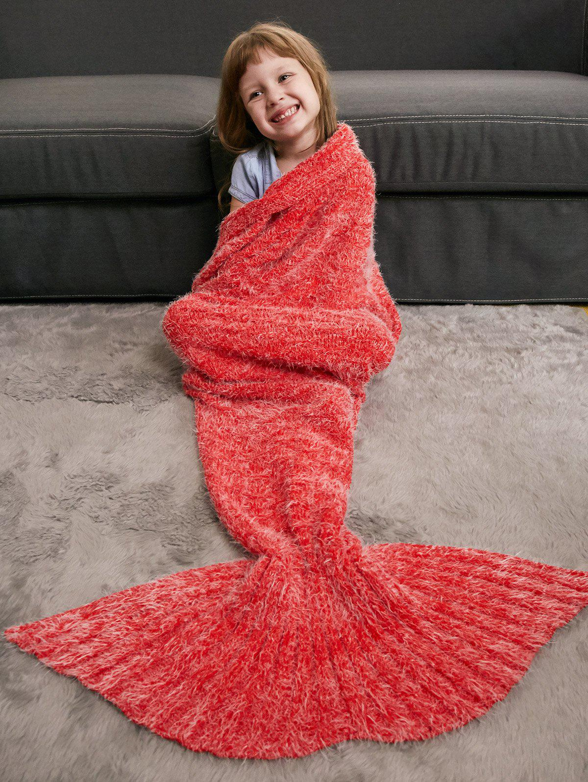 Crochet Tricoté Faux Mohair Mermaid Blanket Throw For Kids - Tangerine