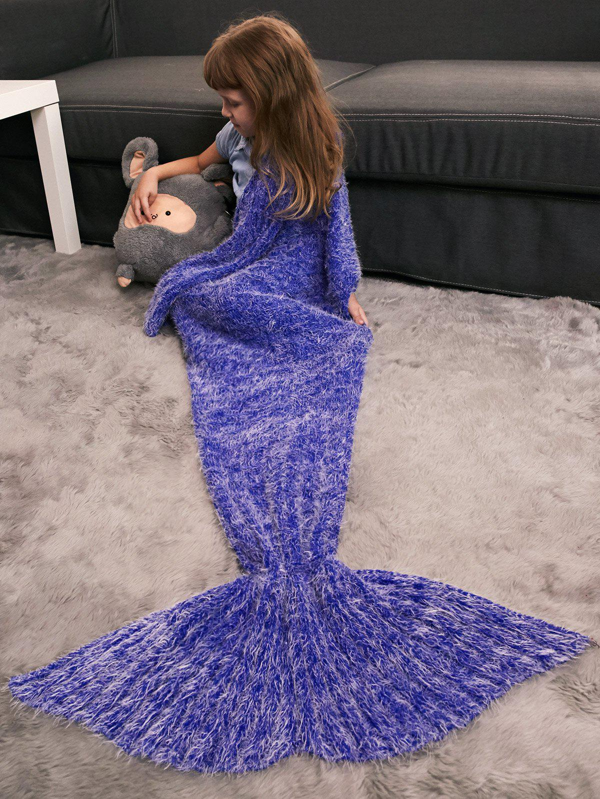 Crochet Knitted Faux Mohair Mermaid Blanket Throw For Kids - BLUE VIOLET