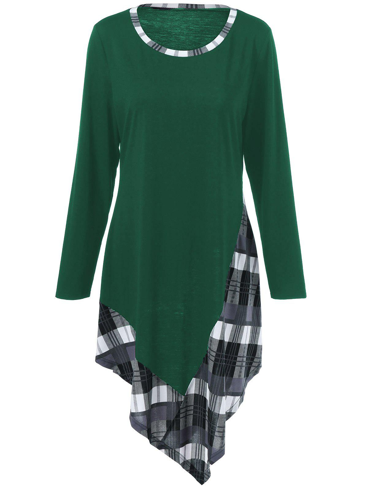 Plus Size Plaid Trim Asymmetric T-Shirt - GREEN XL