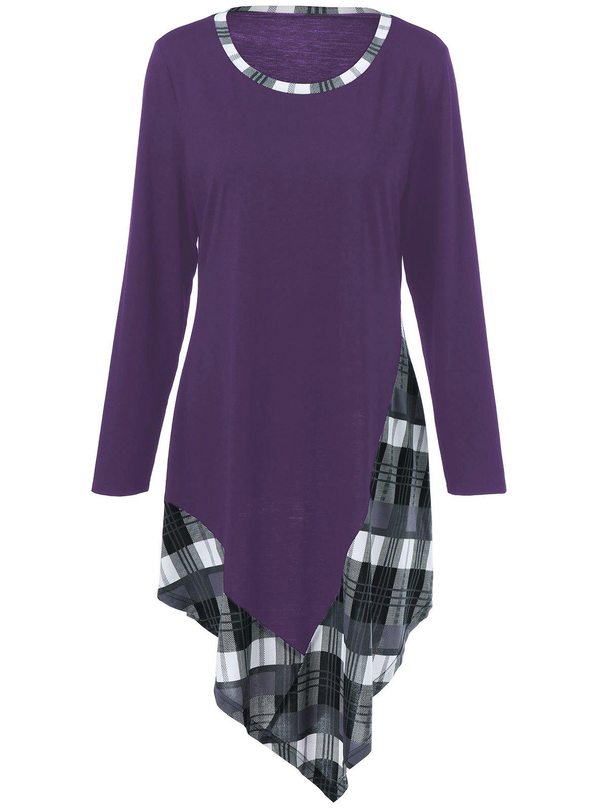 Plus Size Plaid Trim Asymmetric T-Shirt - DEEP PURPLE XL