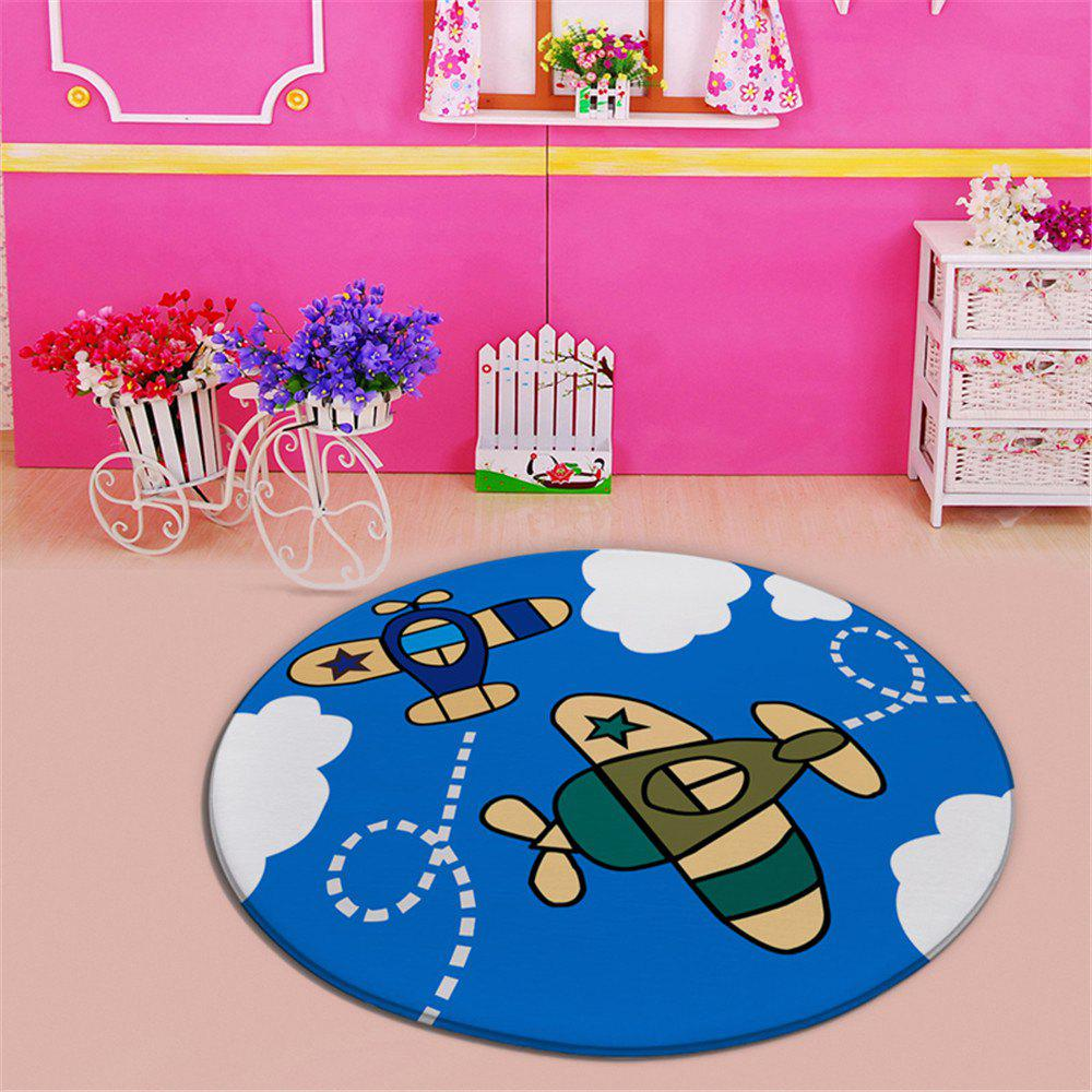 60 Diameter Cartoon Plane Living Room Round Carpet - BLUE