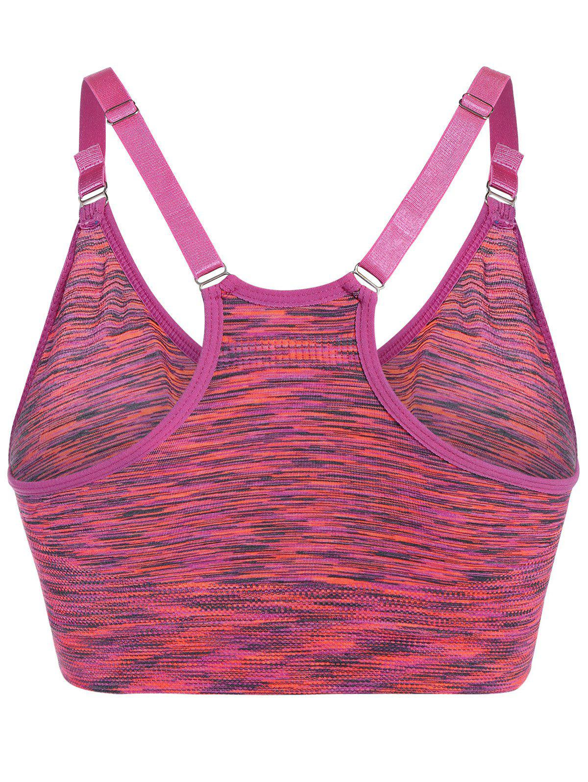 Space Dye Pullover Strappy Sports Bra - ROSE L