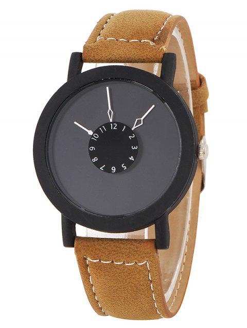 Faux Leather Band Number Analog Watch - BROWN
