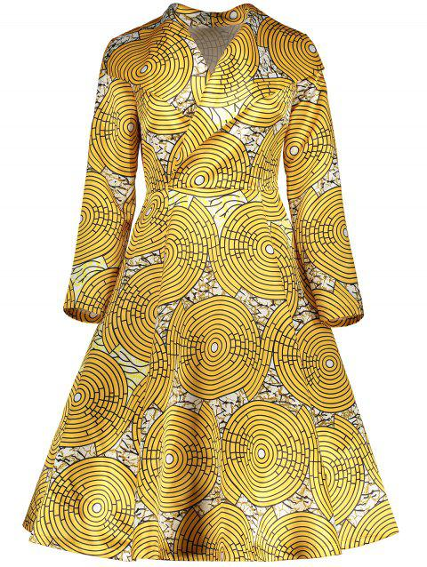 Vintage Printed Surplice Flare Dress - YELLOW XL