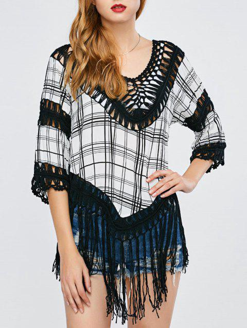 Plaid Tassel Crochet Cover-Up - BLACK ONE SIZE