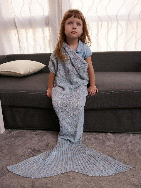 Comfortable Crochet Knitting Mermaid Tail Style Blanket For Kids - GRAY