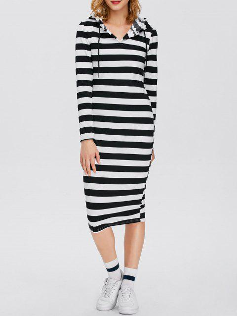 Midi Striped Long Sleeve Hooded Dress - STRIPE S