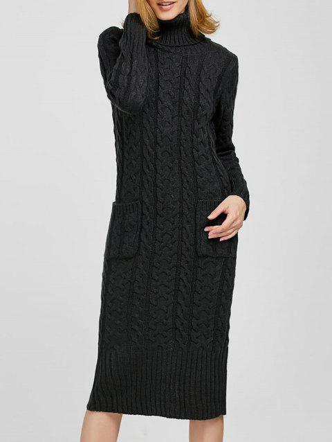 61c8e016c16 41% OFF  2019 Long Sleeve Midi Cable Knit Sweater Dress In BLACK ...