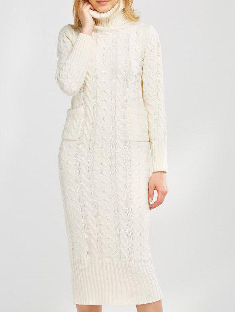 92ffc458291 41% OFF  2019 Long Sleeve Midi Cable Knit Sweater Dress In OFF WHITE ...
