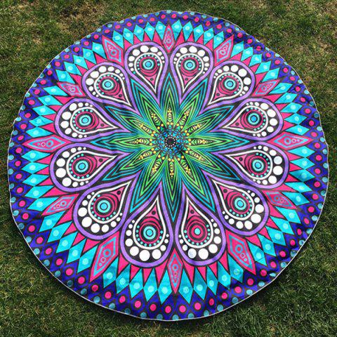 Crystal Flower Paisley Print Round Beach Throw - BLUE ONE SIZE