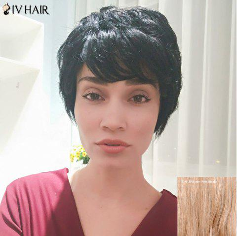 Siv Hair Fluffy Short Straight Side Bang Pixie Human Hair Wig - BROWN/BLONDE