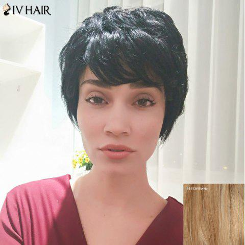 Siv Hair Fluffy Short Straight Side Bang Pixie Human Hair Wig - BLONDE