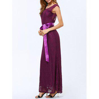 Lace Backless Sheer Maxi Evening Dress