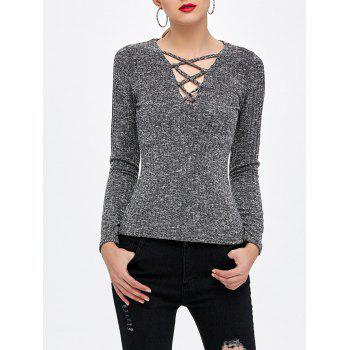Lace Up Knitted Top
