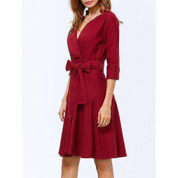Bow Belted V Neck Swing Dress