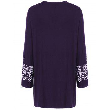 Plus Size Printed Longline Tee - DEEP PURPLE DEEP PURPLE