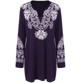 Plus Size Printed Longline Tee - DEEP PURPLE XL