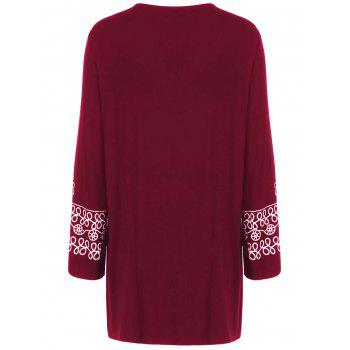 Plus Size Printed Longline Tee - BURGUNDY 3XL