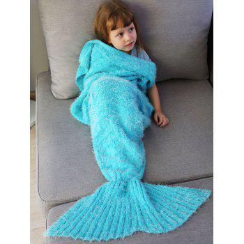 Crochet Tricoté Faux Mohair Mermaid Blanket Throw For Kids - Spa