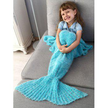 Crochet Knitted Faux Mohair Mermaid Blanket Throw For Kids - SPA