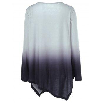 Plus Size Ombre Asymmetrical T-Shirt - BLACK/GREY 3XL