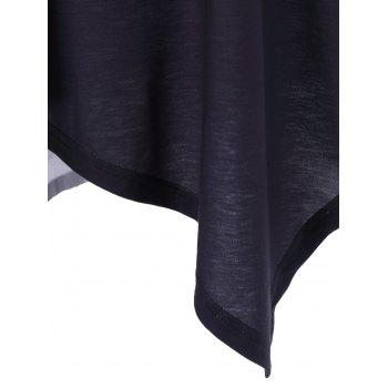 Plus Size Ombre Asymmetrical T-Shirt - BLACK/GREY BLACK/GREY