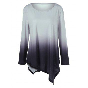 Plus Size Ombre Asymmetrical T-Shirt - BLACK AND GREY BLACK/GREY