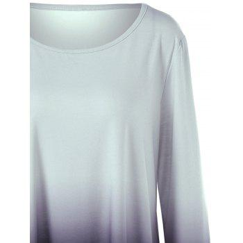 Plus Size Ombre Asymmetrical T-Shirt - BLACK/GREY XL