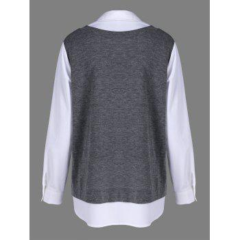Plus Size Button Cuff Two Tone Shirt - GREY/WHITE GREY/WHITE