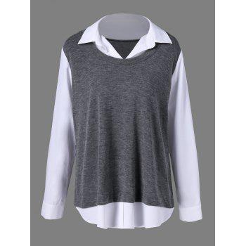 Plus Size Button Cuff Two Tone Shirt - GREY AND WHITE 3XL