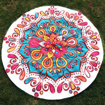 Waterdrop Flower Print Round Beach Throw