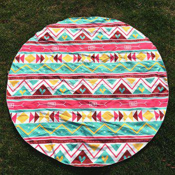 Chevron and Heart Print Round Beach Throw