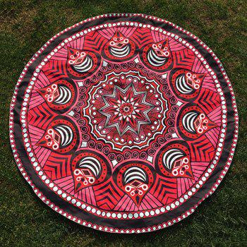 Tribal Chevron Totem Print Round Beach Throw - RED RED