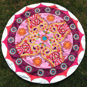 Tribal Sun Totem Print Round Beach Throw - PINK ONE SIZE