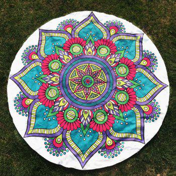 Tribal Mandala Flower Print Round Beach Throw - WHITE ONE SIZE