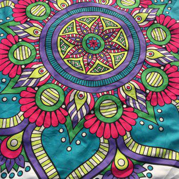 Tribal Mandala Flower Print Round Beach Throw - WHITE WHITE