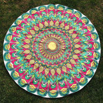 Tribal Feathered Flower Print Round Beach Throw - GREEN ONE SIZE