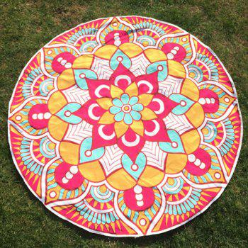 Mandala Flower Print Round Beach Throw