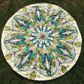 Rhinestone Flower Print Round Beach Throw