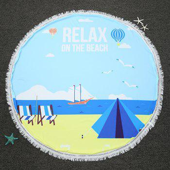 Seaside Relax Time Print Fringed Round Beach Throw