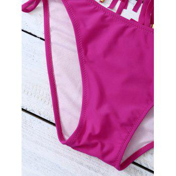 Tie Side Halter Fringed Bikini Set - S S