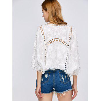 Batwing Sleeve Crochet Hollow Out Cover-Up - ONE SIZE ONE SIZE