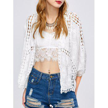 Batwing Sleeve Crochet Hollow Out Cover-Up - WHITE ONE SIZE